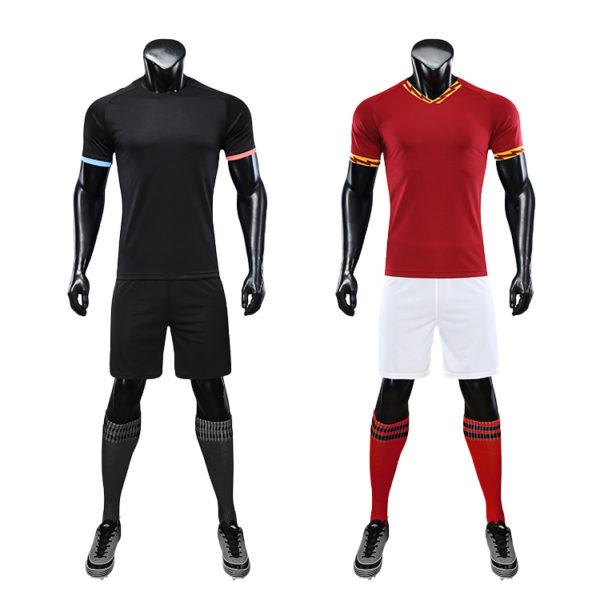 Red black soccer wear with sublimation custom blank sports jersey new model football shirt uniform set4