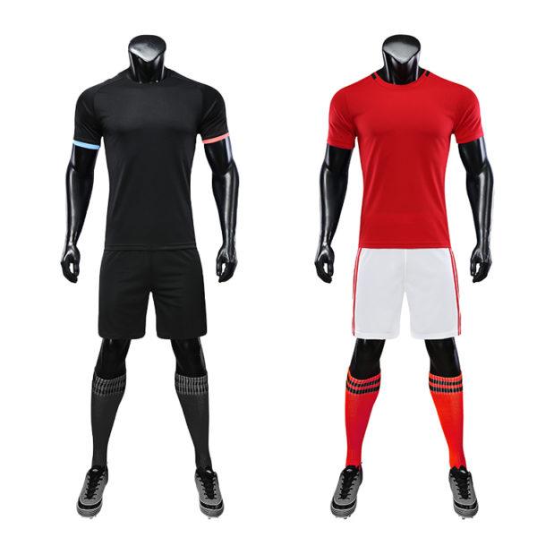 Red black soccer wear with sublimation custom blank sports jersey new model football shirt uniform set6